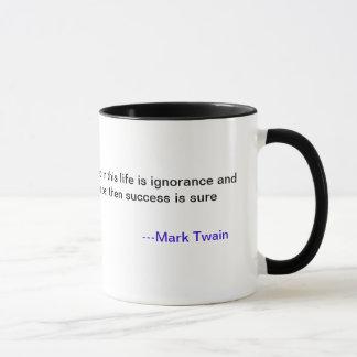 Taza de la cita del éxito de Mark Twain