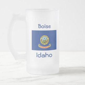 Taza de la ciudad del mapa de la bandera de Idaho