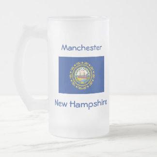 Taza de la ciudad del mapa de la bandera de New