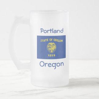 Taza de la ciudad del mapa de la bandera de Oregon