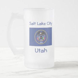 Taza de la ciudad del mapa de la bandera de Utah