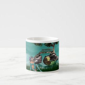 Taza de la especialidad del duende del pavo real taza espresso