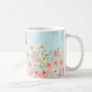 taza de la flor de la acuarela de los rosas y de