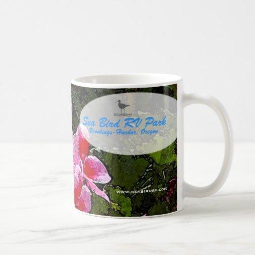 Taza de la flor del pájaro de mar rv