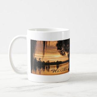 Taza de la Florida de la puesta del sol del río de