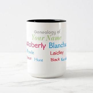 Taza de la genealogía de tres generaciones con