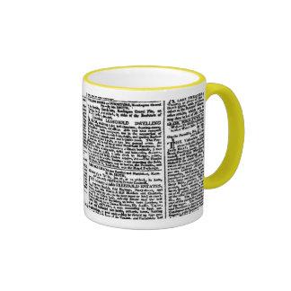Taza de la impresión del periódico (negra y blanco