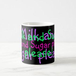 Taza de la leche y del azúcar