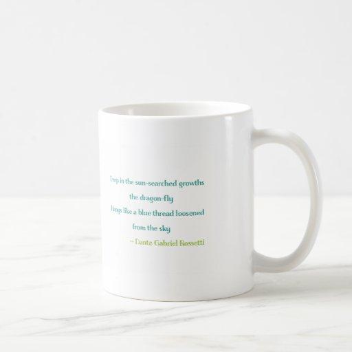 Taza de la libélula con poesía por Rossetti