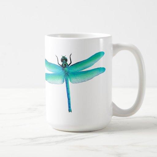 Taza de la libélula del verde azul