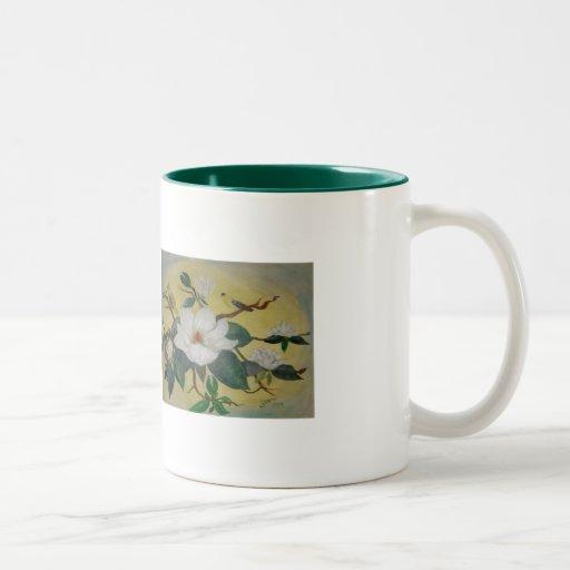 Taza de la magnolia y del Goldfinch