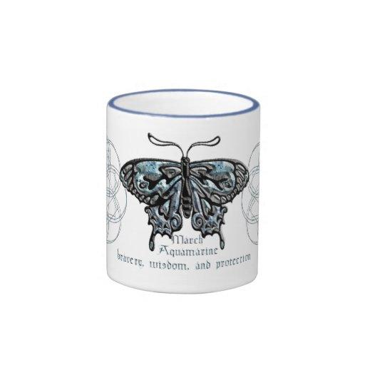 Taza de la mariposa de marzo Birthstone