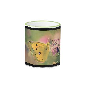 Taza de la mariposa y de café de los Wildflowers