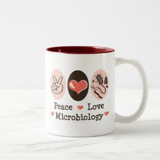 Taza de la microbiología del amor de la paz