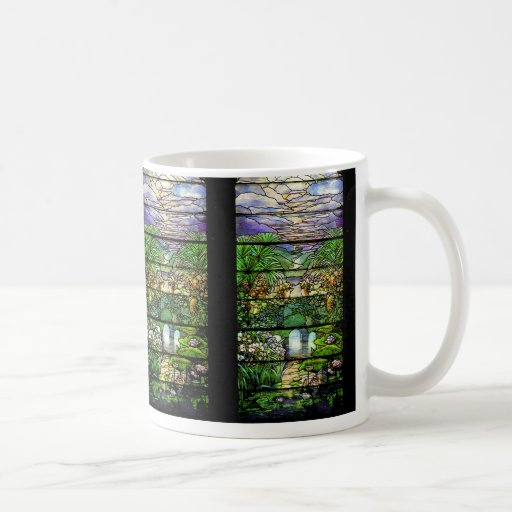 Taza de la naturaleza del vitral de Tiffany