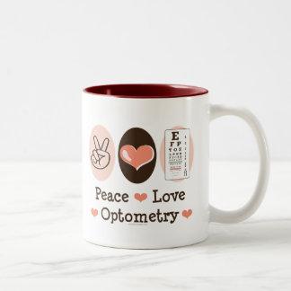 Taza de la optometría del amor de la paz