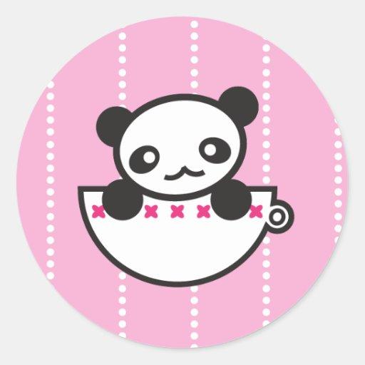 Taza de la panda pegatina redonda