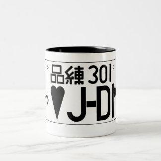 Taza de la placa del amor de JDM