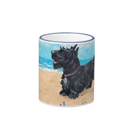 Taza de la playa de Terrier del escocés