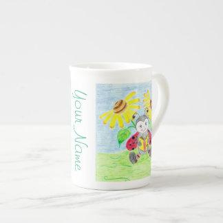 Taza de la porcelana de hueso de la mariquita de taza de porcelana
