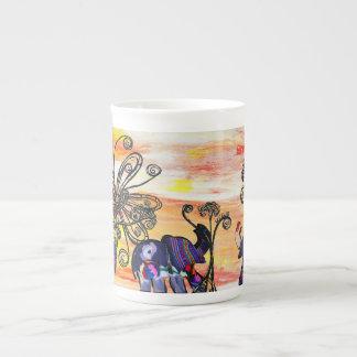 Taza de la porcelana de hueso de los elefantes ind taza de porcelana