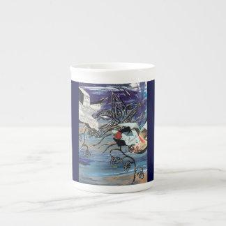 Taza de la porcelana de hueso de los pájaros de la taza de porcelana