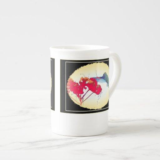 Taza de la porcelana de hueso del colibrí taza de porcelana