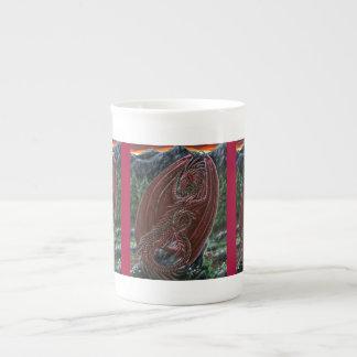 Taza de la porcelana de hueso del dragón del grana taza de porcelana