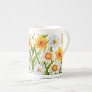 Taza de la porcelana de hueso del jardín del narci taza de porcelana