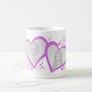 Taza de la púrpura de las fotos de la tarjeta del