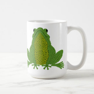 Taza de la rana de Knotwork del Celtic - verde