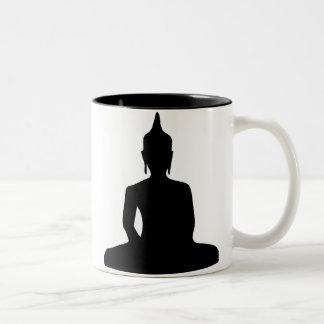 Taza de la silueta de Buda que se sienta