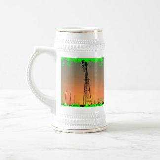 Taza de la silueta del molino de viento de Kansas