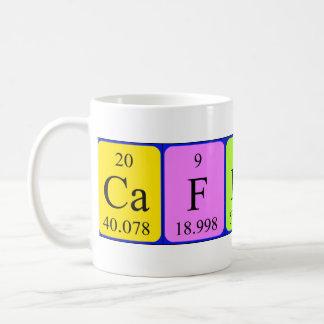 Taza de la tabla periódica del cafeína