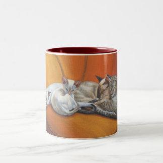 """Taza de la taza siesta de la familia"""" de los gatos"""