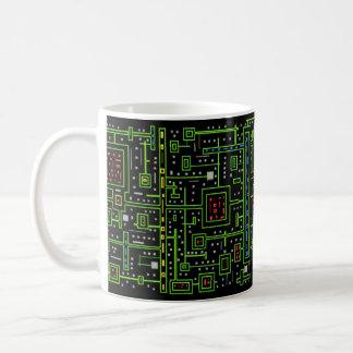 Taza de la tecnología del tablero del microchip -