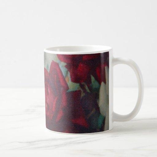 Taza de la tela del vintage de los rosas rojos