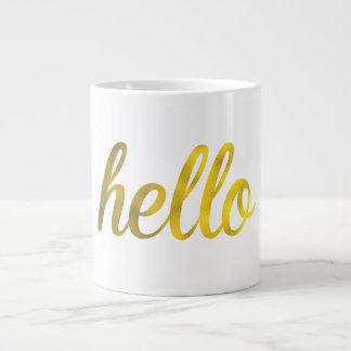 Taza de la tipografía del oro hola taza grande
