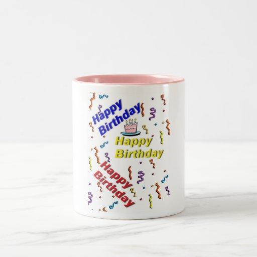 Taza de la torta del feliz cumpleaños