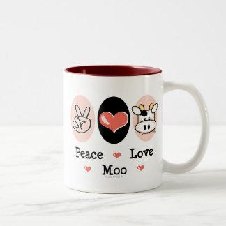 Taza de la vaca del MOO del amor de la paz