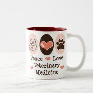 Taza de la veterinaría del amor de la paz