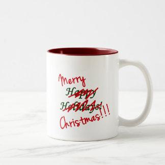 Taza de las Felices Navidad no buenas fiestas