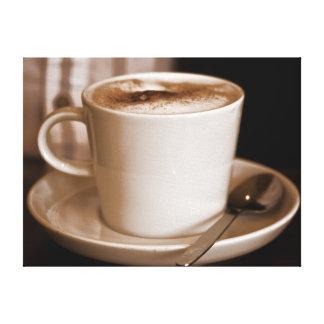 Taza de lona envuelta sepia del café impresión de lienzo