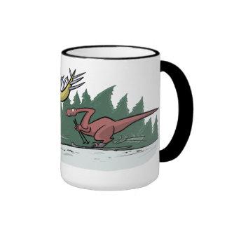 Taza de los dinosaurios del esquí