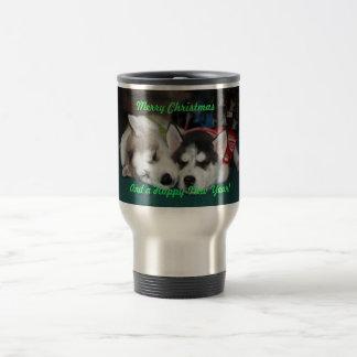 Taza de los perritos del husky siberiano del