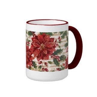 Taza de los Poinsettias y del navidad de la música
