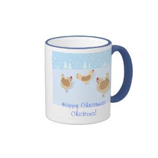 ¡Taza de los pollos de las felices Navidad!