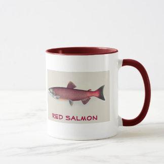 Taza de los salmones rojos