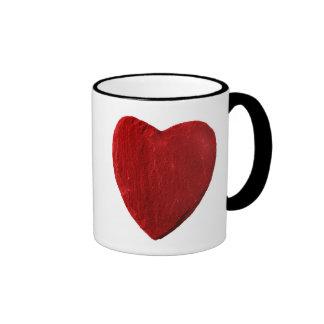 Taza de luchador con corazón rojo de pizarra