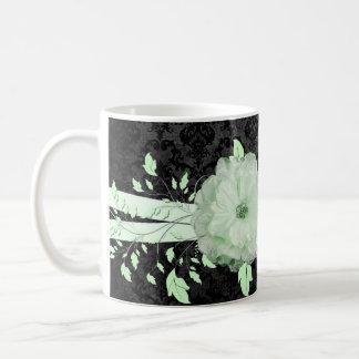 Taza de lujo del damasco de la flor romántica verd